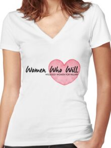 Women Who Will Heart Women's Fitted V-Neck T-Shirt
