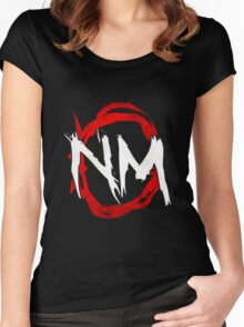 NmO Logo (Red & White) (WORKS BEST WITH BLACK) Women's Fitted Scoop T-Shirt