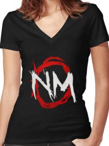 NmO Logo (Red & White) (WORKS BEST WITH BLACK) Women's Fitted V-Neck T-Shirt