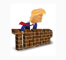 cartoon of Donald Trump behind a brick wall. Unisex T-Shirt