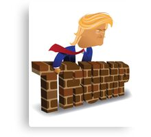 cartoon of Donald Trump behind a brick wall. Canvas Print