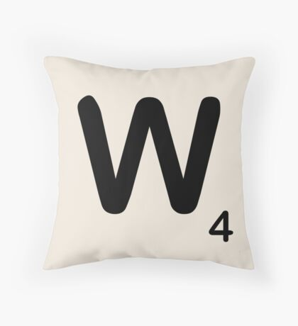 Scrabble Tile W Throw Pillow