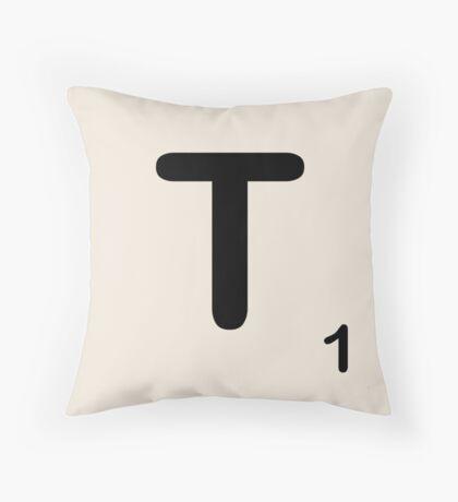 Scrabble Tile T Throw Pillow