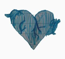 Blue Ink Heart One Piece - Short Sleeve