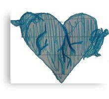 Blue Ink Heart Canvas Print