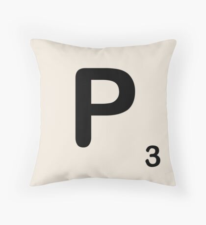 Scrabble Tile P Throw Pillow