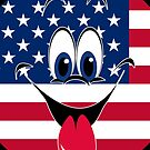 Sticking Tongue Out USA Flag Smiley Face Emoticon by CroDesign