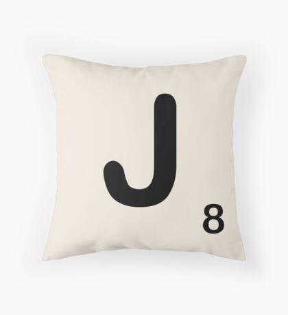 Scrabble Tile J Throw Pillow