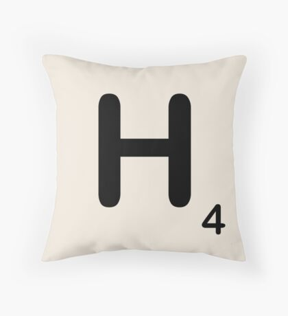 Scrabble Tile H Throw Pillow