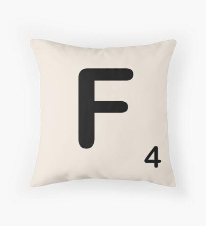 Scrabble Tile F Throw Pillow