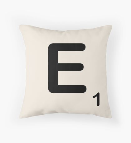 Scrabble Tile E Throw Pillow