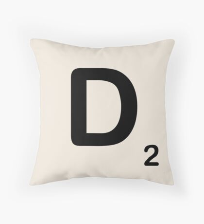 Scrabble Tile D Throw Pillow