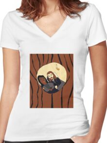 Naptime Hollow Women's Fitted V-Neck T-Shirt