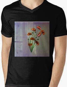Wall flower with textured colour background Mens V-Neck T-Shirt