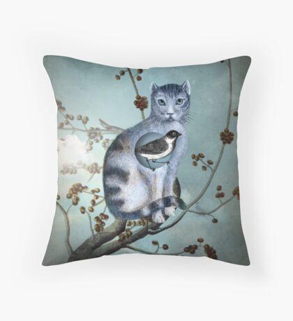 The Blue Cat Throw Pillow