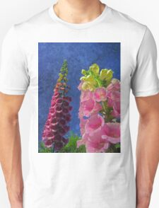 Two Foxglove flowers with textured background Unisex T-Shirt