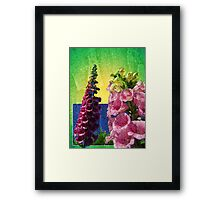 Two Foxglove flowers on texture and frame Framed Print