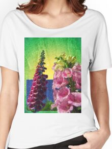 Two Foxglove flowers on texture and frame Women's Relaxed Fit T-Shirt