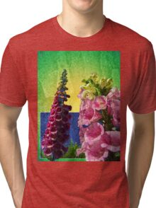 Two Foxglove flowers on texture and frame Tri-blend T-Shirt