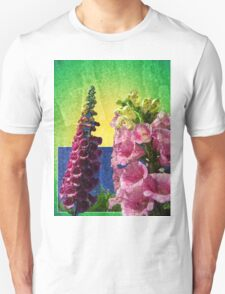 Two Foxglove flowers on texture and frame Unisex T-Shirt