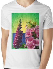 Two Foxglove flowers on texture and frame Mens V-Neck T-Shirt