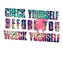Check yourself before you wreck yourself! Photographic Print