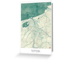 Tottori Map Blue Vintage Greeting Card