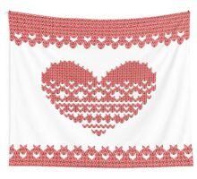 Red Knitted Look Love Heart  Wall Tapestry