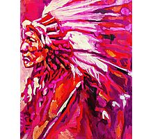 Indian Chief in pink and orange Photographic Print