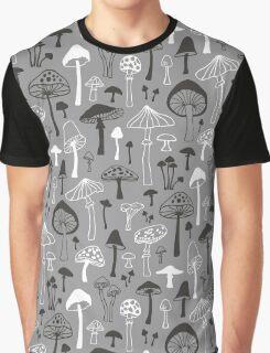 Mushrooms in Grey Graphic T-Shirt