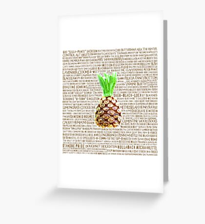 Psych Burton Guster Nicknames - Television Show Pineapple Room Decorative TV Pop Culture Humor Lime Neon Brown Greeting Card