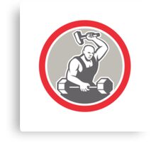 Blacksmith Striking at Barbell with Sledgehammer Retro Canvas Print