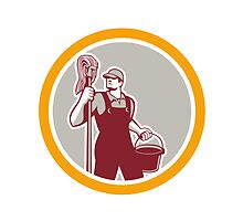 Janitor Holding Mop and Bucket Circle Retro by patrimonio