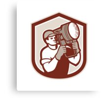 Electrical Lighting Technician Carry Spotlight Shield Canvas Print
