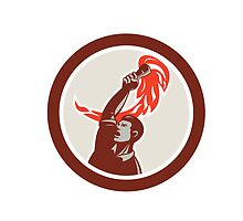 Worker Holding Up Flaming Torch Circle Retro by patrimonio
