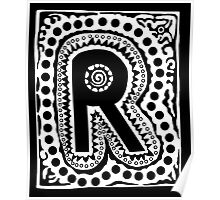 Initial R Black and White Poster