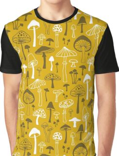 Mushrooms in Yellow Graphic T-Shirt