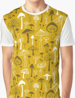 Mushrooms in Yellow Graphic T-Shirt