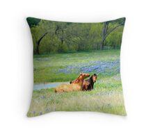Horses & Bluebonnets Throw Pillow Throw Pillow