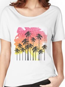 Retro 80's Summer Palm Trees Geometric Triangles Women's Relaxed Fit T-Shirt