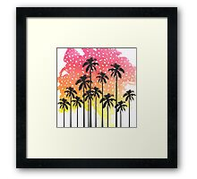 Retro 80's Summer Palm Trees Geometric Triangles Framed Print