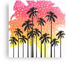 Retro 80's Summer Palm Trees Geometric Triangles Canvas Print