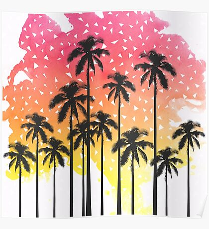 Retro 80's Summer Palm Trees Geometric Triangles Poster