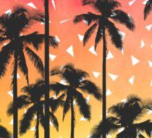 Retro 80's Summer Palm Trees Geometric Triangles Sticker
