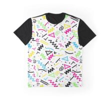 Retro 80's 90's Neon Pink Green Blue Yellow Doodle Graphic T-Shirt