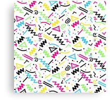 Retro 80's 90's Neon Pink Green Blue Yellow Doodle Canvas Print