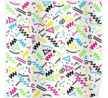 Retro 80's 90's Neon Pink Green Blue Yellow Doodle Poster