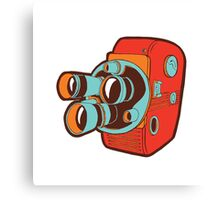 Retro Color Splash Cine Camera Blood Orange Canvas Print