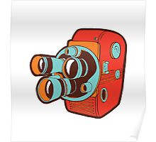 Retro Color Splash Cine Camera Blood Orange Poster