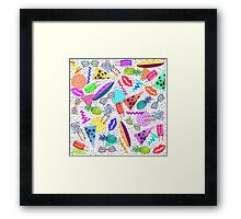 Retro 80's 90's Summer Beach Collage Pattern Framed Print